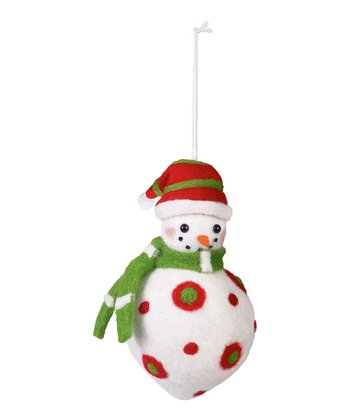 Green & White Scarf Felt Snowman Ornament