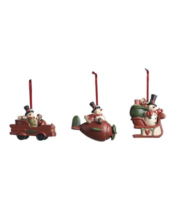 Traveling Snowman Ornament Set