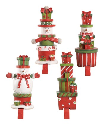 Present Snowman Stocking Holder Set