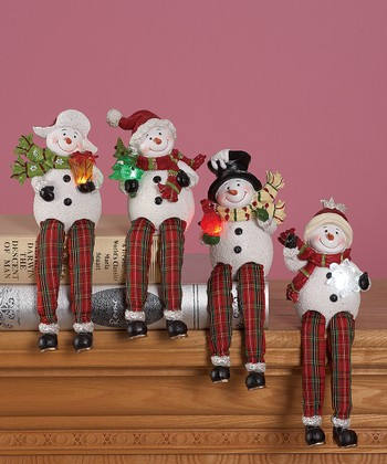 Holiday Snowman LED Shelf Sitter Figurine Set
