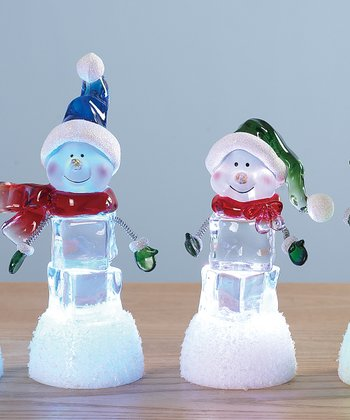 Hat Wearing Snowman LED Figurine Set