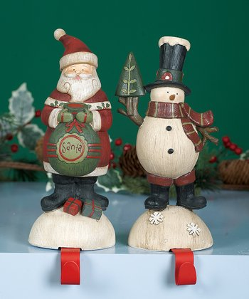 Santa & Snowman Stocking Holder Set