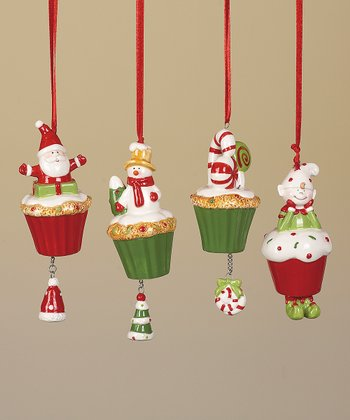 Holiday Cupcake Snowman Ornament Set
