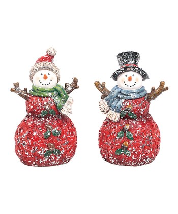 Poinsettia Snowman Figurine Set