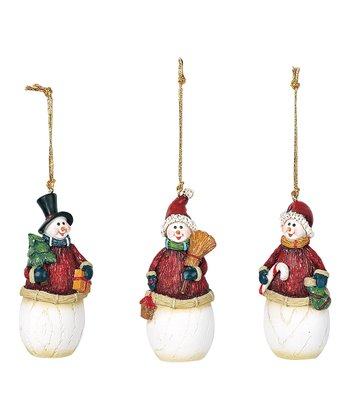 Red Sweater Snowman Ornament Set