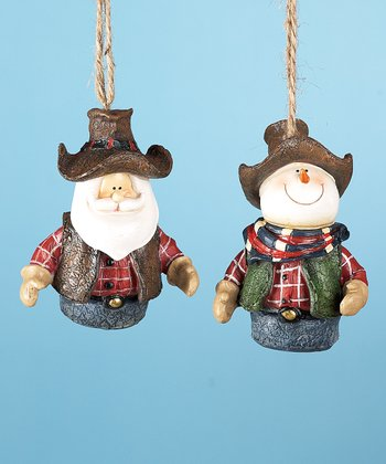 Cowboy Santa & Snowman Ornament Set