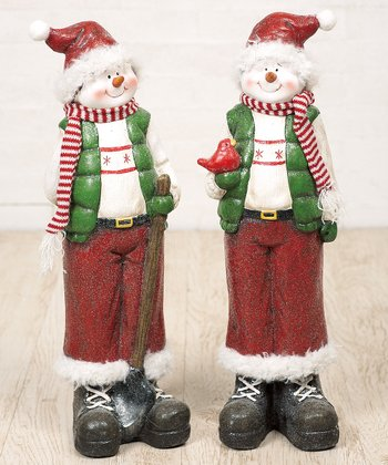 Shovel & Bird Snowman Figurine Set