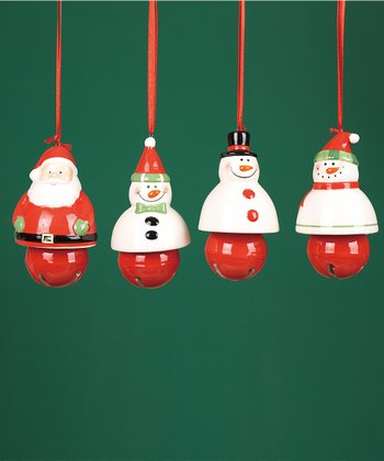Santa & Snowman Bell Ornament Set
