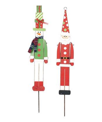 Santa & Snowman Stake Set