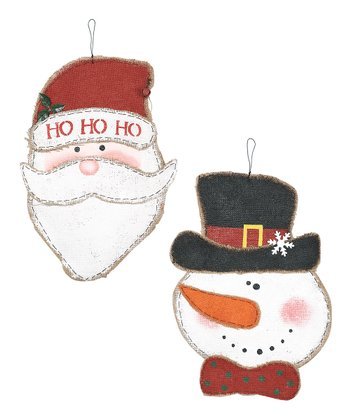 Santa & Snowman Wall-Hanging Set