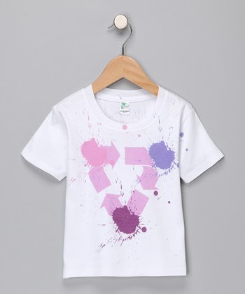 White & Pink Recycle Splatter Tee - Infant & Toddler