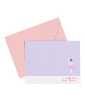 Brown-Haired Ballerina Personalized Note Card - Set of 10
