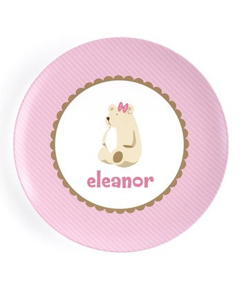 Pink Bear Personalized Plate