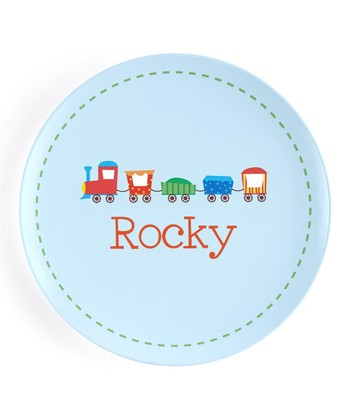 Blue & Green Circus Train Personalized Plate