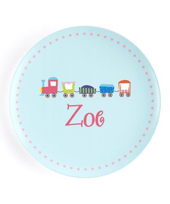 Blue & Pink Circus Train Personalized Plate