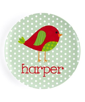 Patchwork Christmas Bird Personalized Plate