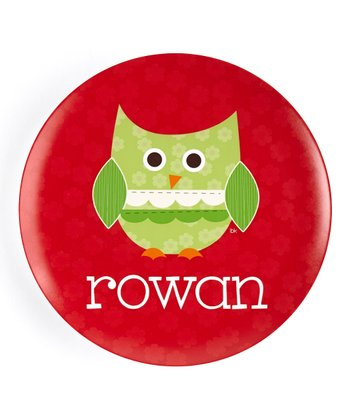 Patchwork Christmas Owl Personalized Plate
