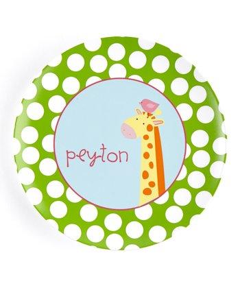 Green & Pink Giraffe Personalized Plate