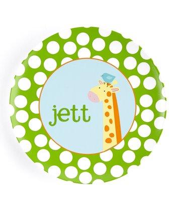 Green & Blue Giraffe Personalized Plate