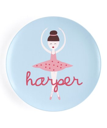 Brown-Haired Twirl Personalized Plate