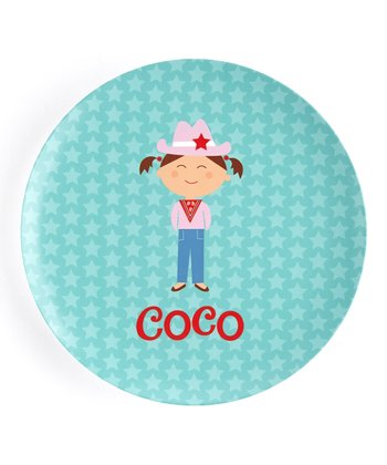 Brown-Haired Cowgirl Personalized Plate
