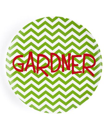 Christmas Zigzag Personalized Plate