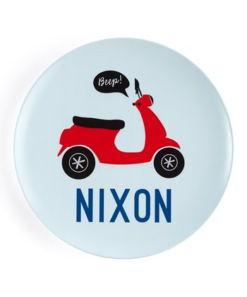 Red Vespa Personalized Plate