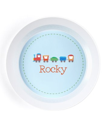 Blue & Green Circus Train Personalized Bowl