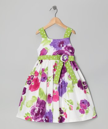 Green & Purple Floral Bow Dress - Toddler & Girls