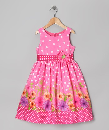 Hot Pink Polka Dot Floral Dress - Toddler & Girls