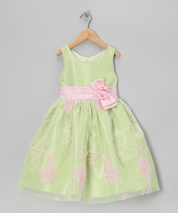 Lime Green Soutache Dress - Toddler & Girls