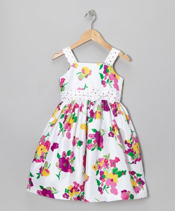 White & Pink Floral Sash Dress - Toddler & Girls
