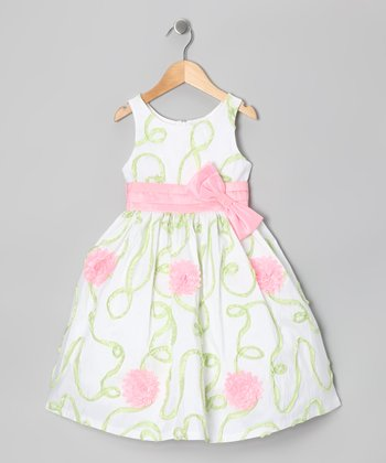 Green & Cream Floral Dress - Toddler & Girls