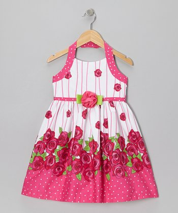 Fuchsia & White Rose Halter Dress - Girls