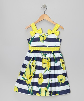 Navy & Yellow Stripe Bow Dress - Toddler & Girls