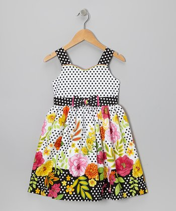 Black Polka Dot Floral A-Line Dress - Toddler & Girls