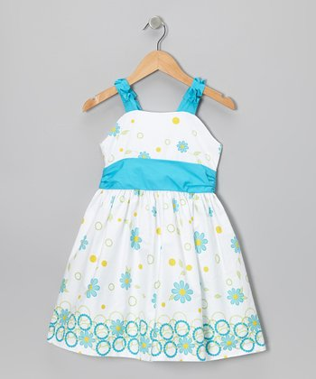 White & Turquoise Circle Floral Dress - Toddler & Girls