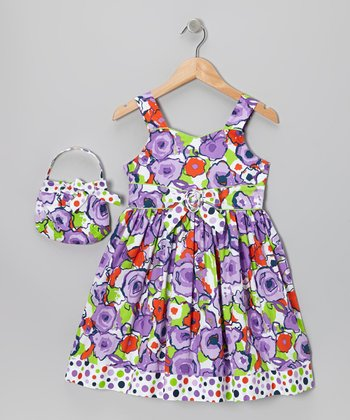 Purple Watercolor Floral Dress & Purse - Toddler & Girls
