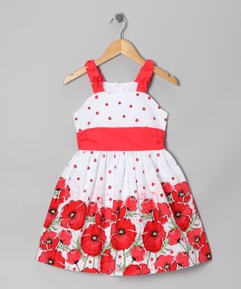 Red & White Polka Dot Poppy Dress - Toddler & Girls