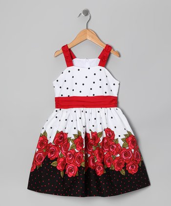 White & Red Polka Dot Rose Dress - Toddler & Girls