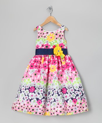Navy & Pink Floral Ribbon Dress - Girls