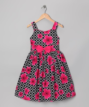 Black & Pink Polka Dot Floral Bow Dress - Girls