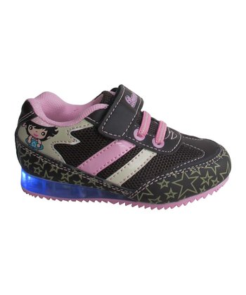 Brown & Pink Star Light-Up Sneaker