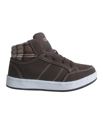 Brown Plaid Hi-Top Sneaker