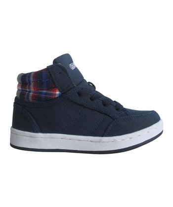 Navy Plaid Hi-Top Sneaker
