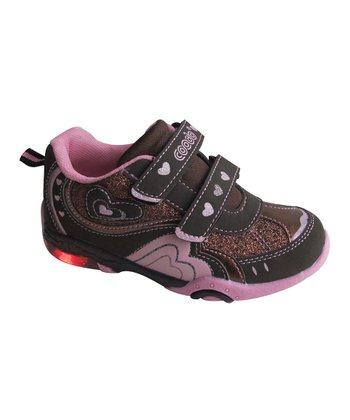 Brown & Pink Adjustable Light-Up Sneaker