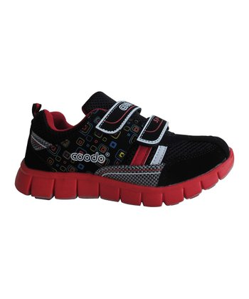 Black & Red Double-Strap Sneaker