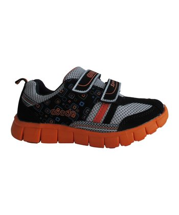 Black & Orange Double-Strap Sneaker