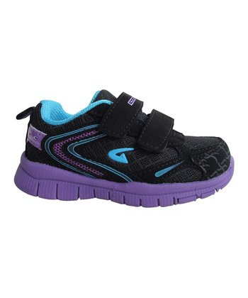 Black & Purple Bright Double-Strap Sneaker