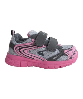 Gray & Pink Bright Double-Strap Sneaker